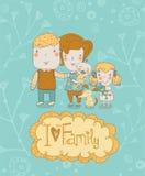 愉快的系列 概念家庭背景 与母亲的柔和的卡片,父亲、女儿、儿子和狗在传染媒介与文本我爱我的Fami 免版税库存照片