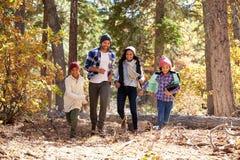 Famiglia afroamericana che cammina attraverso il terreno boscoso di caduta Immagine Stock Libera da Diritti