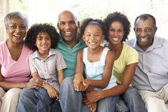 Famiglia allargata che si distende sul sofà nel paese insieme Fotografie Stock