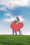 Famiglia asiatica felice esterna Fotografie Stock Libere da Diritti
