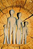 Famiglia astratta su legno Fotografia Stock Libera da Diritti