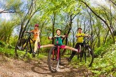 Famiglia attiva che cicla giù la traccia di legni fotografia stock
