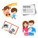 Famiglia, bambini e notizie Immagini Stock