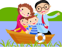 Famiglia in barca Immagine Stock Libera da Diritti