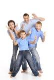 Famiglia in camice blu fotografia stock libera da diritti