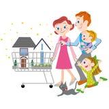 Famiglia che acquista una casa Fotografia Stock