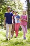 Famiglia che cammina attraverso la campagna di estate Immagine Stock Libera da Diritti