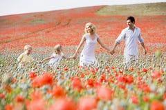Famiglia che cammina in mani della holding del campo del papavero Immagini Stock