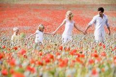 Famiglia che cammina in mani della holding del campo del papavero Immagini Stock Libere da Diritti