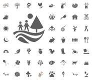 Famiglia che cammina nell'icona della foresta Insieme dell'icona dell'illustrazione di vettore della primavera illustrazione vettoriale