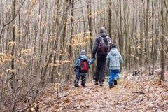 Famiglia che cammina nella foresta Fotografia Stock Libera da Diritti
