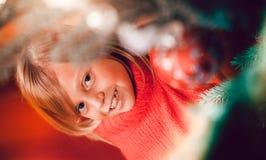 Famiglia che decora l'albero di Natale Fotografie Stock
