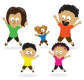 Famiglia che fa le prese di salto 2 illustrazione vettoriale