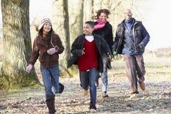 Famiglia che funziona attraverso la campagna di autunno Immagine Stock