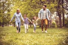 Famiglia che gioca sul prato immagine stock