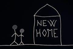 Famiglia che gode di nuova casa, concetto insolito illustrazione vettoriale