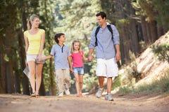 Famiglia che gode di una camminata nella campagna Fotografie Stock