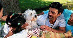 Famiglia che gode insieme al loro cane di animale domestico in parco archivi video