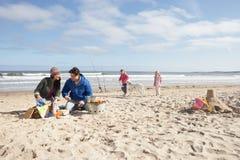 Famiglia che ha barbecue sulla spiaggia di inverno fotografia stock
