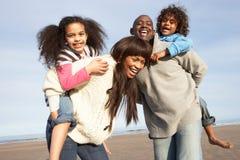 Famiglia che ha divertimento sulla spiaggia di inverno Fotografie Stock Libere da Diritti