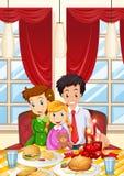 Famiglia che ha pasto sul tavolo da pranzo illustrazione vettoriale