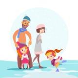 Famiglia che pattina insieme sulla pista di pattinaggio sul ghiaccio nell'inverno Fotografia Stock