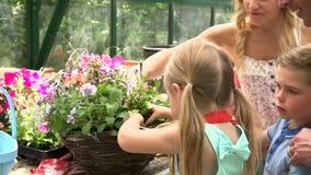 Famiglia che pianta canestro d'attaccatura in serra archivi video