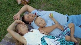 Famiglia che riposa in natura Mamma, papà e piccola bugia del figlio sull'erba su una coperta, abbracciante ed esaminante il ciel archivi video