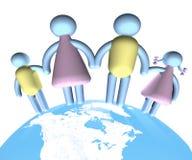 Famiglia che si leva in piedi su The Globe Immagini Stock