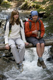 Famiglia che trekking fotografie stock