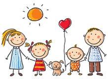 Famiglia con due bambini e un cucciolo Immagini Stock