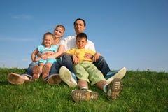 Famiglia con i bambini Fotografie Stock