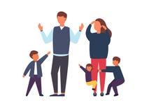 Famiglia con i bambini Genitori occupati e stanchi con i bambini impertinenti Illustrazione di vettore fotografia stock libera da diritti
