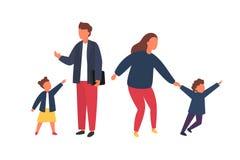 Famiglia con i bambini Genitori occupati e stanchi con i bambini impertinenti Illustrazione di vettore immagini stock libere da diritti