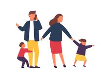 Famiglia con i bambini Genitori occupati e stanchi con i bambini impertinenti Illustrazione di vettore fotografia stock