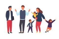Famiglia con i bambini Genitori occupati e stanchi con i bambini impertinenti Illustrazione di vettore immagini stock