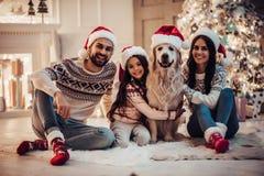 Famiglia con il cane sul ` s EVE del nuovo anno immagini stock