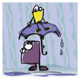 Famiglia con l'ombrello Illustrazione Vettoriale