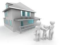 Famiglia con la casa illustrazione di stock