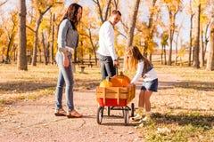 Famiglia con le zucche Fotografia Stock Libera da Diritti