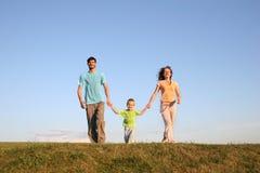 Famiglia corrente sul prato 3 fotografia stock
