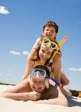 Famiglia degli operatori subacquei Immagini Stock Libere da Diritti