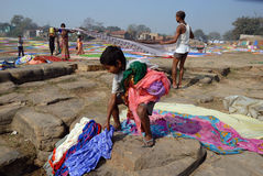 famiglia degli Rondella-uomini in India Immagine Stock