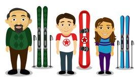 Famiglia degli sport invernali Fotografia Stock