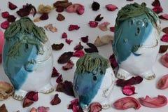Famiglia dei burattini ceramici che canta Fotografie Stock Libere da Diritti