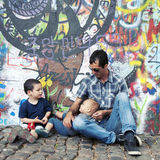 Famiglia dei graffiti fotografia stock libera da diritti
