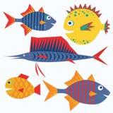 Famiglia dei pesci divertenti. Caratteri isolati vettore. Fotografia Stock