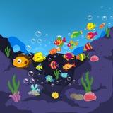 Famiglia dei pesci divertenti sotto il mare Immagini Stock Libere da Diritti