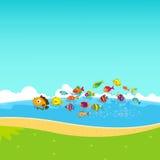 Famiglia dei pesci divertenti sotto il mare Immagini Stock