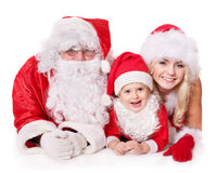 Famiglia del Babbo Natale con il bambino. Immagini Stock